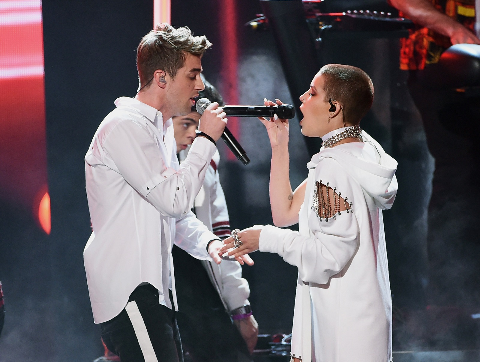 Singers Drew Taggart of The Chainsmokers, left, and  Halsey.  (Getty Images)