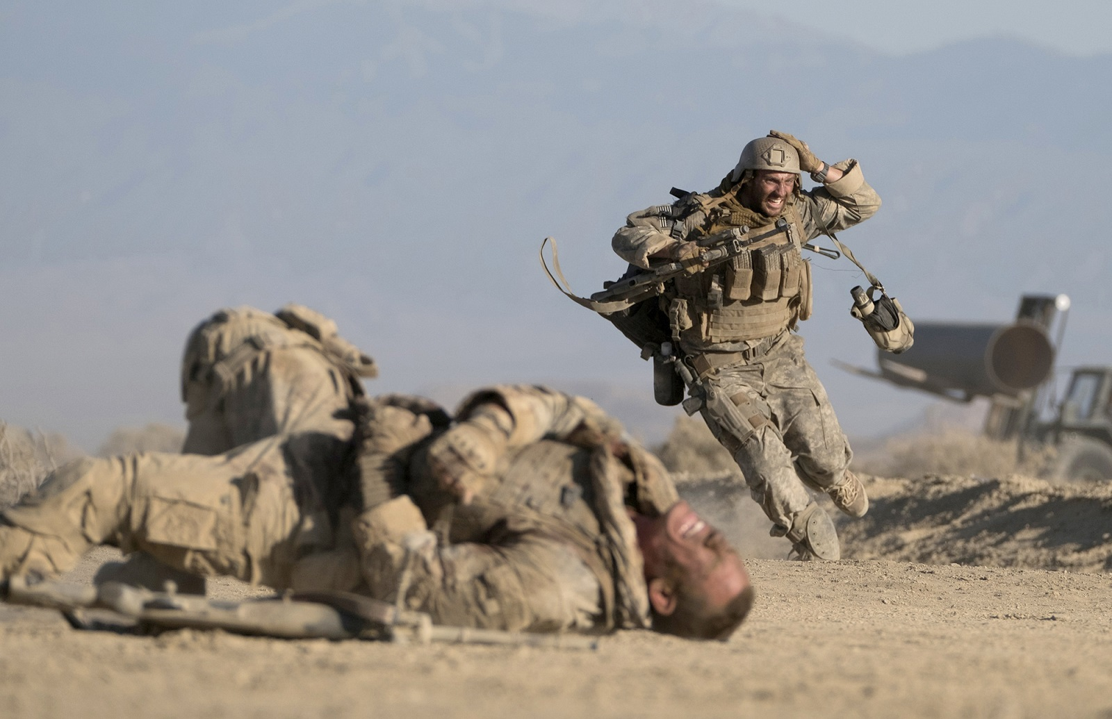 Left to right, John Cena and Aaron Taylor-Johnson in 'The Wall.' (David James, Amazon Studios-Roadside Attractions)