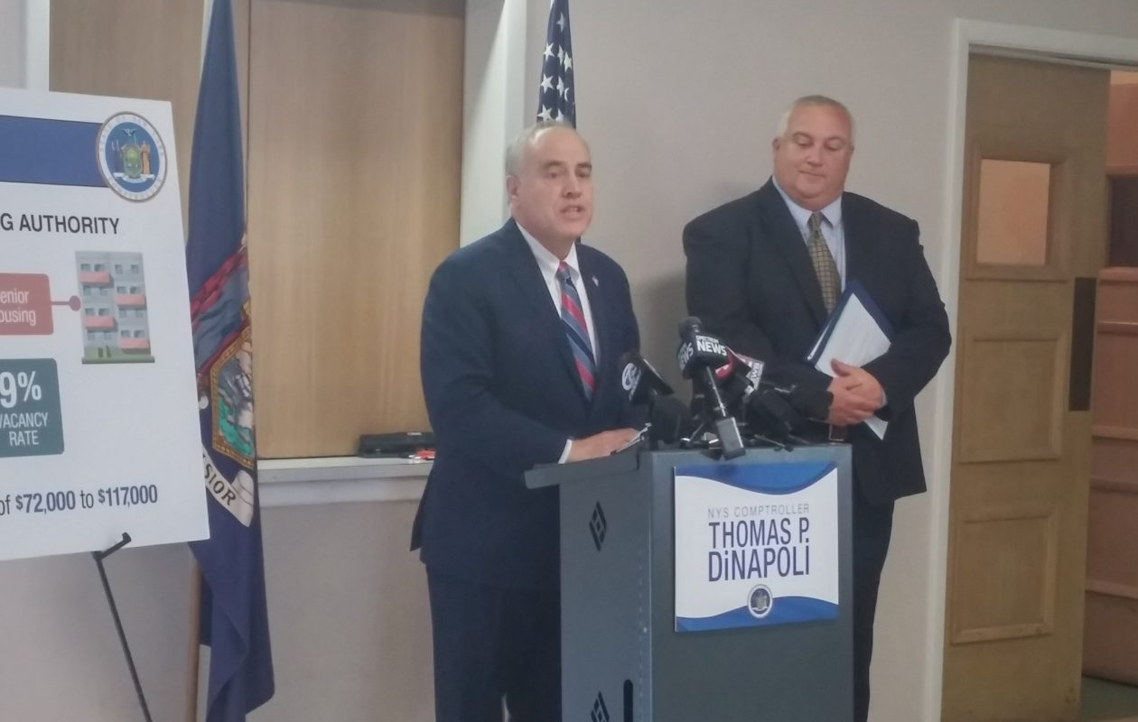 New York State Comptroller Thomas DiNapoli, left, stood with Tonawanda Housing Authority Executive Secretary Dale Kokanovich on Thursday, May 25, 2017 in the City of Tonawanda while discussing an audit that criticized management of the authority under Kokanovich's predecessor, Paul Fitzsimmons. (Nancy Fischer / The Buffalo News)