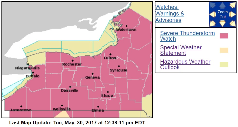 All of Western New York, except for Niagara County was placed under a severe thunderstorm watch until 8 p.m. (National Weather Service)