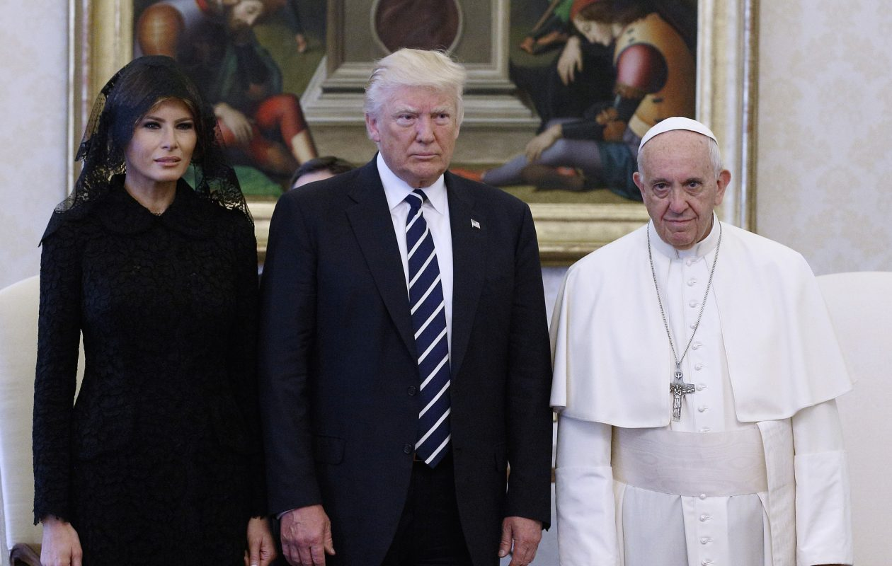 Pope Francis meets with U.S. President Donald Trump and his wife Melania Trump on Wednesday, May 24, 2017, at the Vatican. (Evandro Inetti/Vaticanpool/Hearin/Zuma Press/TNS)