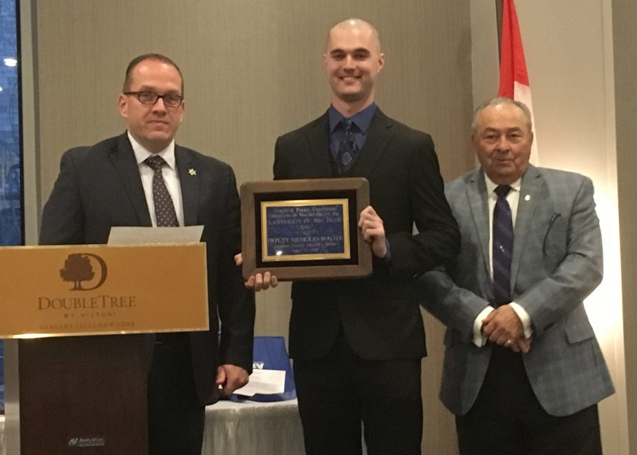 From left, Niagara County Undersheriff Michael Filicetti, Sheriff's Deputy Nicholas Walter and Town of Niagara Judge James Faso. (Judges & Police Executives Conference of Niagara County)