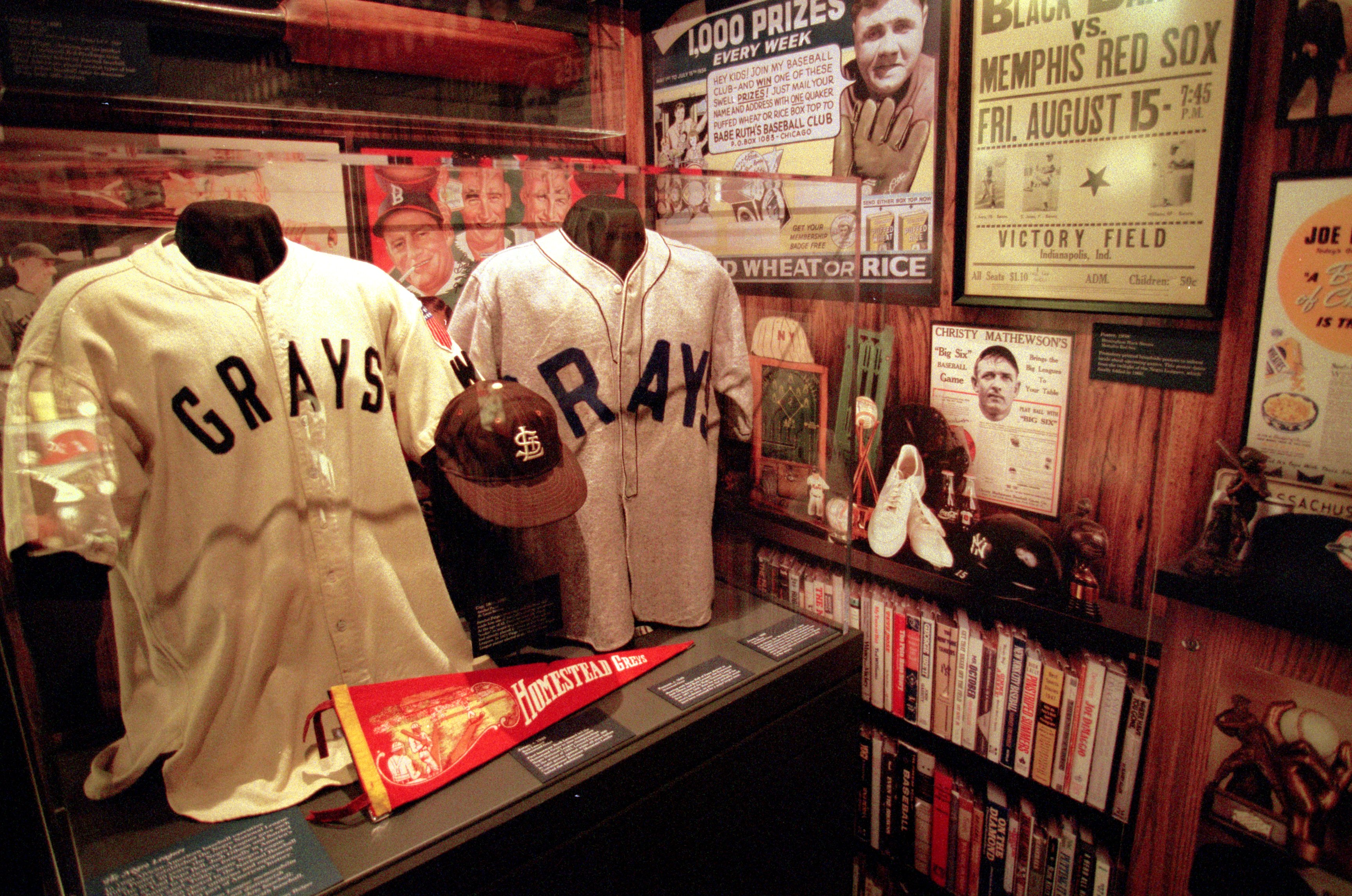 A general view of some classic memorabilia at the Baseball Hall of Fame in Cooperstown. (Ezra O. Shaw /Allsport, Getty Images)