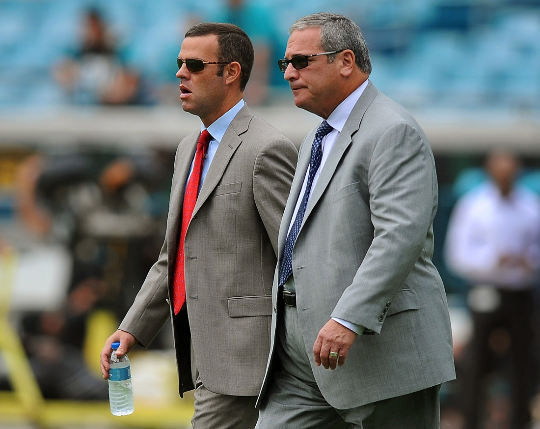 New Bills general manager Brandon Beane, left, when he was assistant GM of the Carolina Panthers, with Panthers GM Dave Gettleman. (Charlotte Observer)