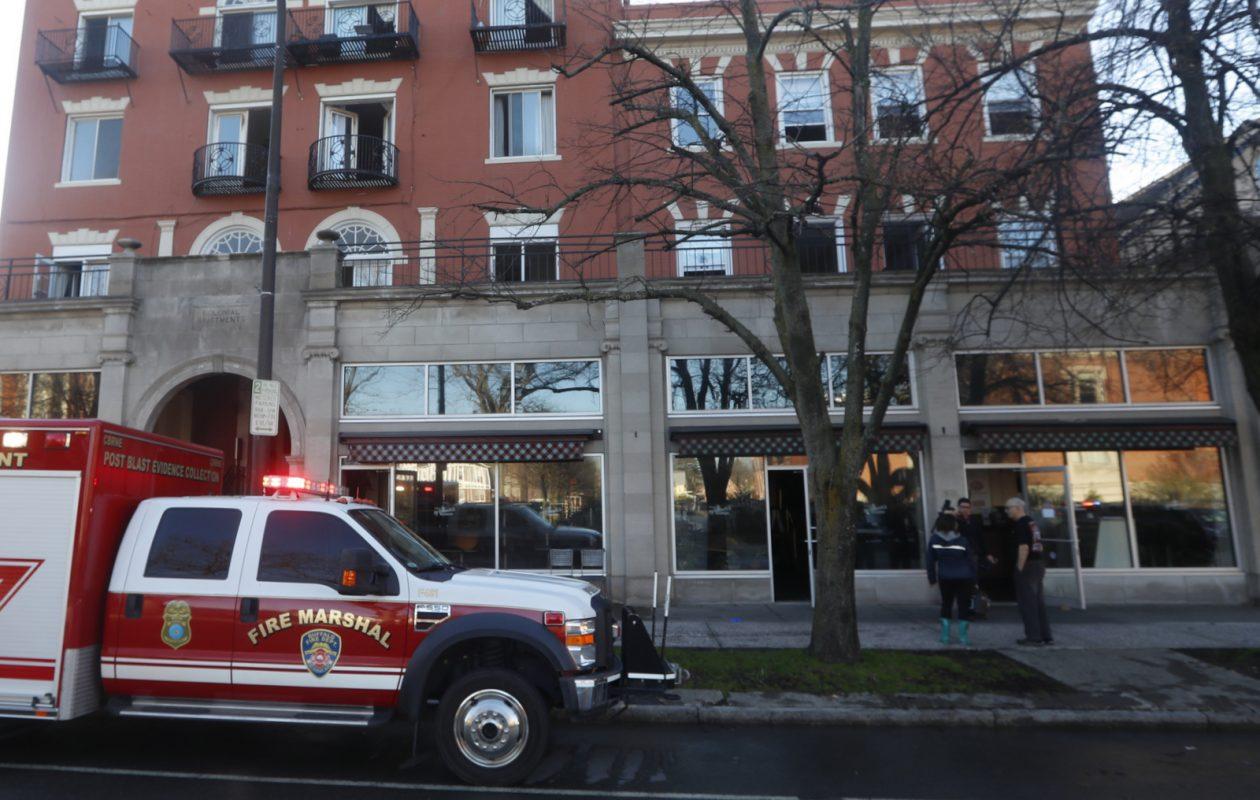 Chris' NY Sandwich Co., 395 Delaware Ave., was damaged by fire April 26. (John Hickey/Buffalo News)