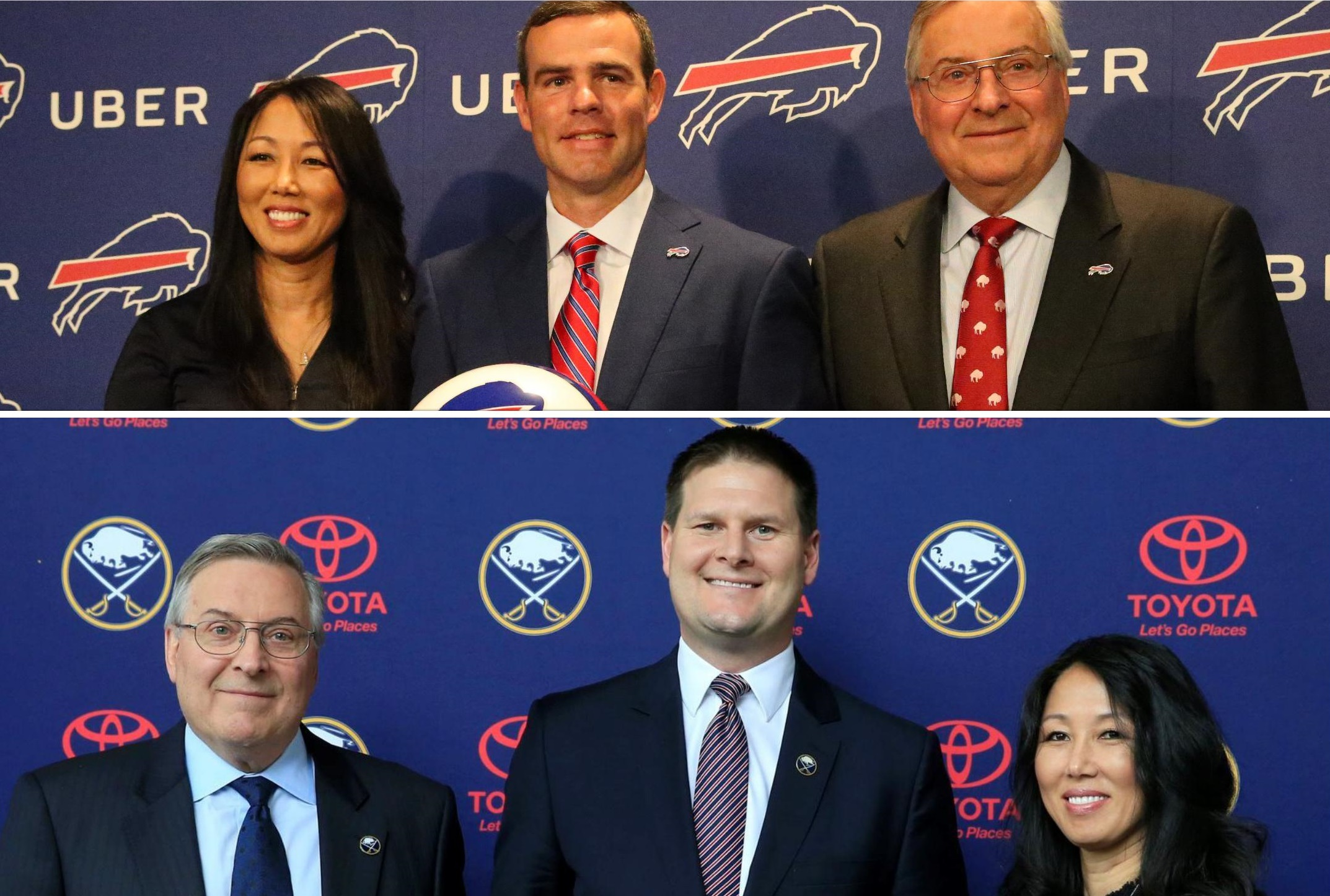 Jerry Sullivan's buddy Rex Carr has liked what he's seen with the recent Bills and Sabres GM hires. (James P. McCoy/Buffalo News, top; Harry Scull Jr./Buffalo News, bottom)