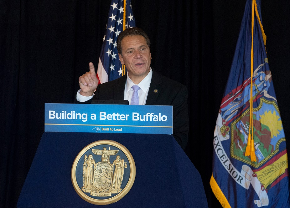 Gov. Andrew M. Cuomo is scheduled to take a waterfront boat tour in Buffalo today. Here, he speaks at Templeton Landing in October. (John Hickey/Buffalo News file photo)