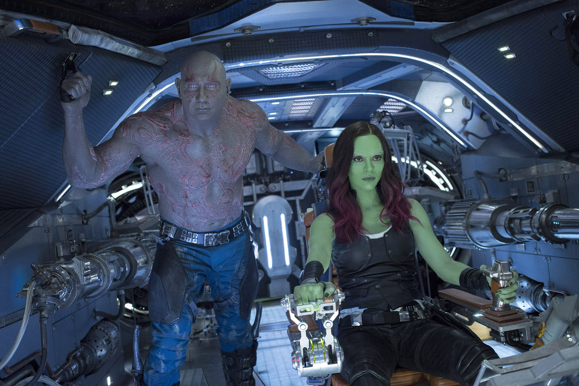 Drax (Dave Bautista) and Gamora (Zoe Saldana) in 'Guardians Of The Galaxy Vol. 2.' MUST CREDIT: Chuck Zlotnick, Marvel Studios