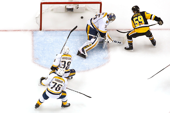 Jake Guentzel beats Pekka Rinne in the first period (Getty Images).