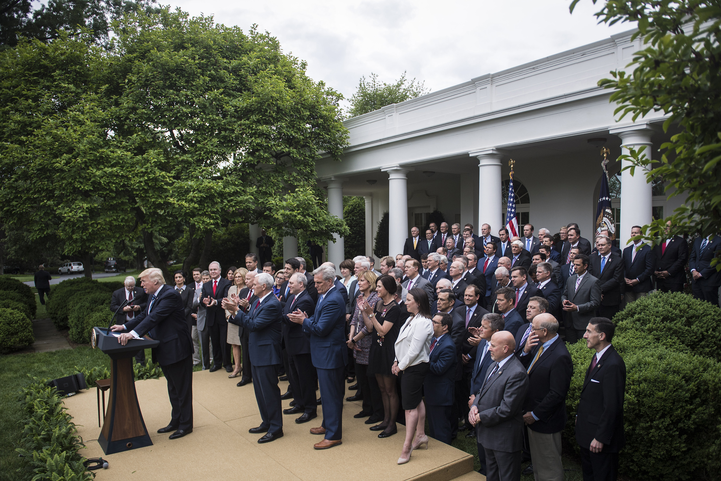 President Trump speaks in the Rose Garden after the House pushed through a health care bill on Thursday. (Washington Post photo by Jabin Botsford)