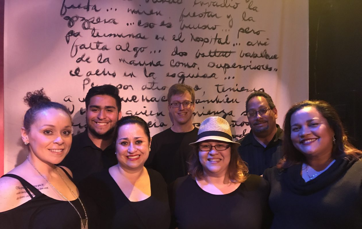 Playwrights from the Raíces Theatre ensemble will present an evening of festival of short plays in the Manny Fried Playhouse. From left: Marta Aracelis, Alejandro Gabriel Gómez, María Pérez-Gómez, Steve Brachmann, Victoria Pérez, Dewel Pérez and Smirna Mercedes-Pérez.