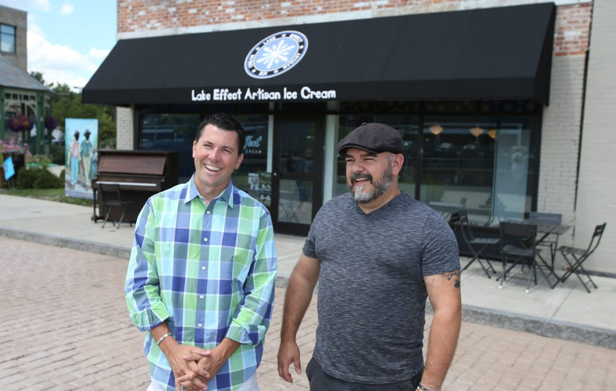 Owners Erik Bernardi, left, and Jason Wulf, outside of Lake Effect Ice Cream in Lockport in 2013. (News file photo)