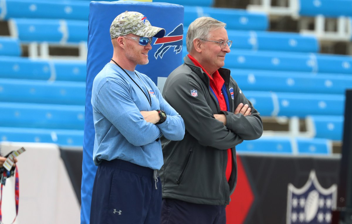Bills owner Terry Pegula, right, has watched as coach Sean McDermott has overseen significant roster turnover since being hired in January. (James P. McCoy/Buffalo News)