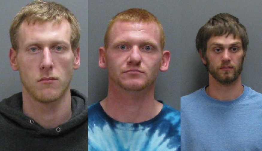 From left, Robert Wappat, Martin Wenzell and Casey Saeger, face drug charges in Jamestown. (Jamestown Police)
