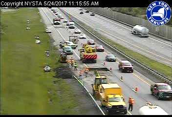 Emergerncy repair work on the westbound I-90 Wednesday between the Lackawanna Toll Booth and Exit 56 is already causing traffic backups. The right lane could closed until Thursday morning. (NITTEC)