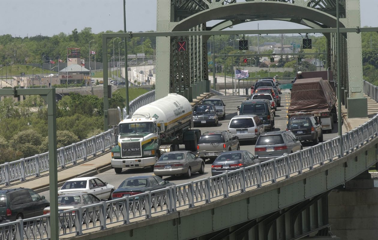 A traffic jam at the Peace Bridge. (News file photo)