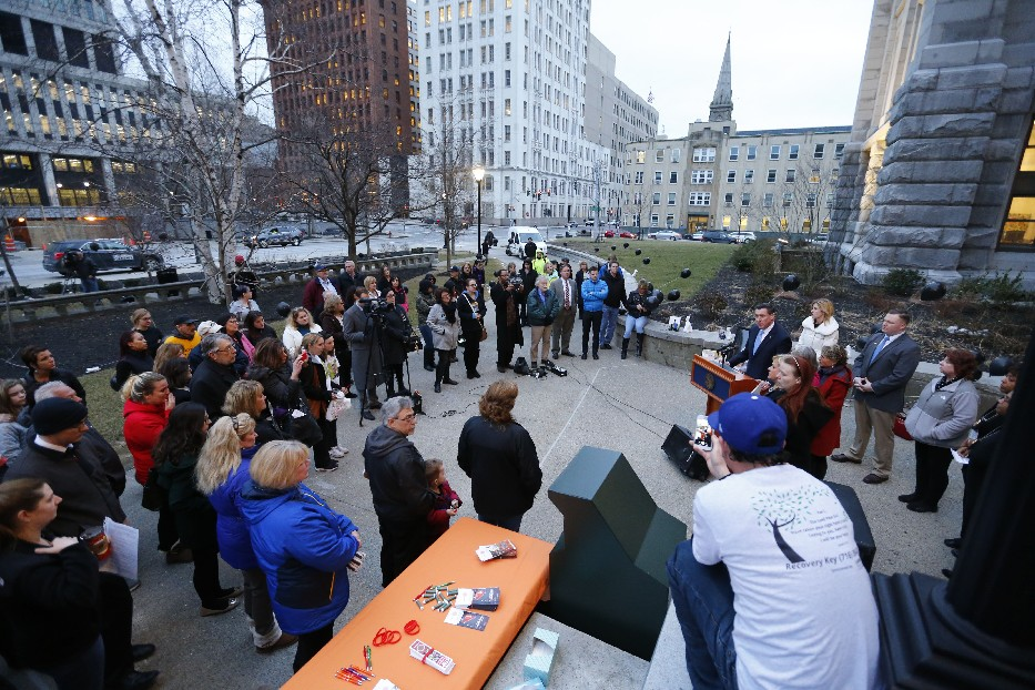 Rallies like this one outside the Erie County courthouse last spring highlight the opiate crisis that prosecutors say Dellsean Hamilton has contributed to. He now faces up to 10 years in prison after being arrested multiple times for dealing. (Mark Mullville/News file photo)