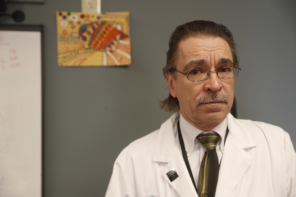 """""""Americans constitute 4 percent of the people on the planet. We consume 80 percent of the opioid painkillers."""" - Dr. Richard Blondell, professor of family medicine and vice chairman of addiction medicine at the University at Buffalo's Jacobs School of Medicine and Biomedical Sciences.  (Photos by John Hickey/Buffalo News)"""
