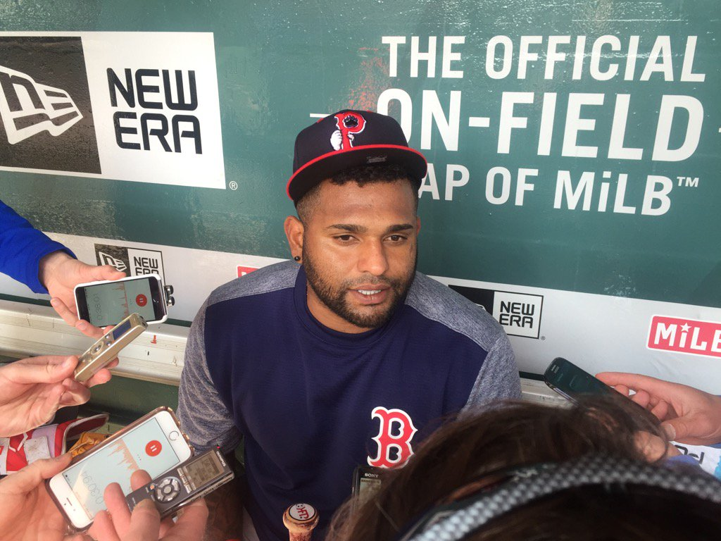 Pablo Sandoval met with reporters before his rehab start with the PawSox in Buffalo. (Mike Harrington/Buffalo News)