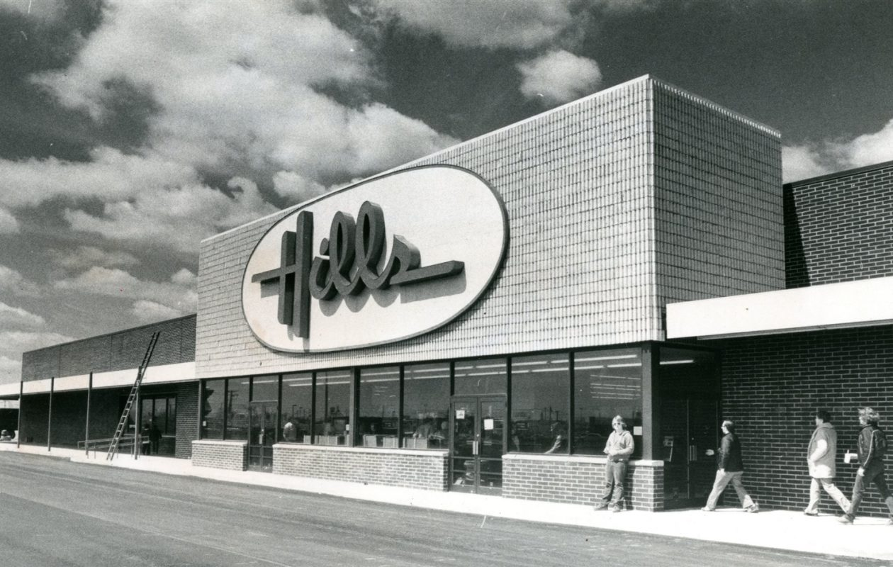 """You knew Christmas was around the corner when you heard Hills' magic Sprite mascot singing """"Hills is where the toys are."""" Founded in Youngstown, Ohio in 1957, it closed in 1998 after being sold to Ames. Ames closed in 2002."""
