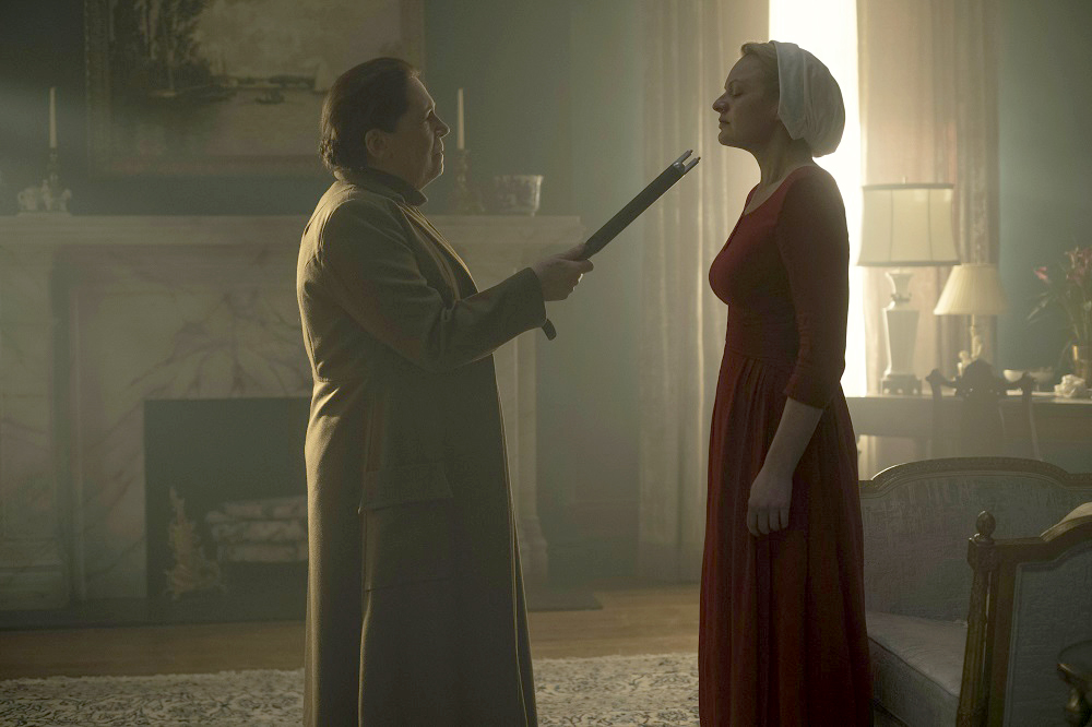Aunt Lydia (Ann Dowd) and Offred (Elisabeth Moss) in 'The Handmaid's Tale ' (George Kraychyk, Hulu)