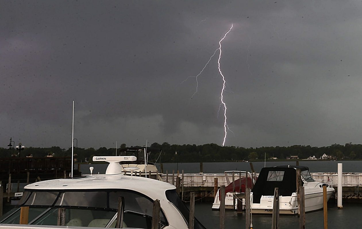 Bolts of lightning arc over the Niagara River by Niagara Street in Buffalo in 2014. All supercells are dangerous thunderstorms, with frequent lightning and usually damaging hail.   (Robert Kirkham/News file photo)