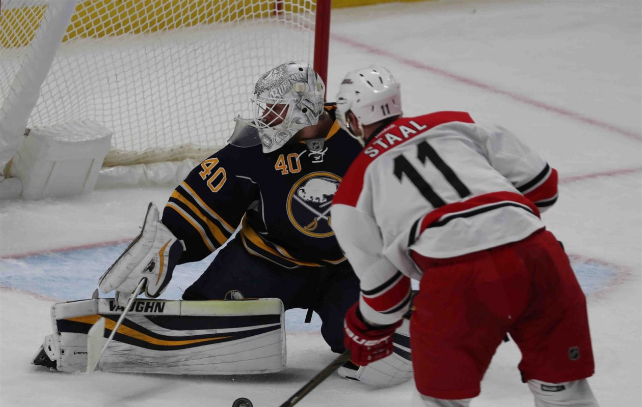 Robin Lehner and the Sabres will host Jordan Staal and Carolina on Sept. 18. (James P. McCoy/Buffalo News)