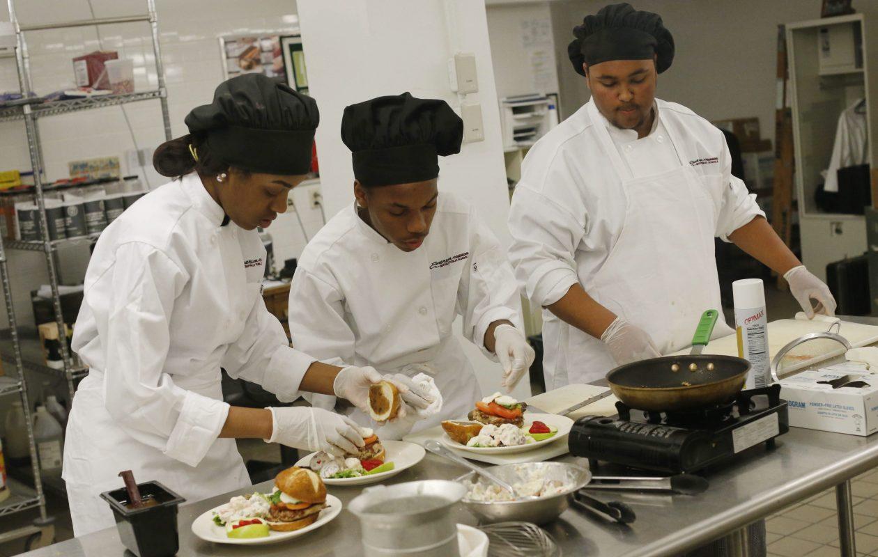 Emerson School of Hospitality students prepare a dish in 2016. (Derek Gee/Buffalo News)