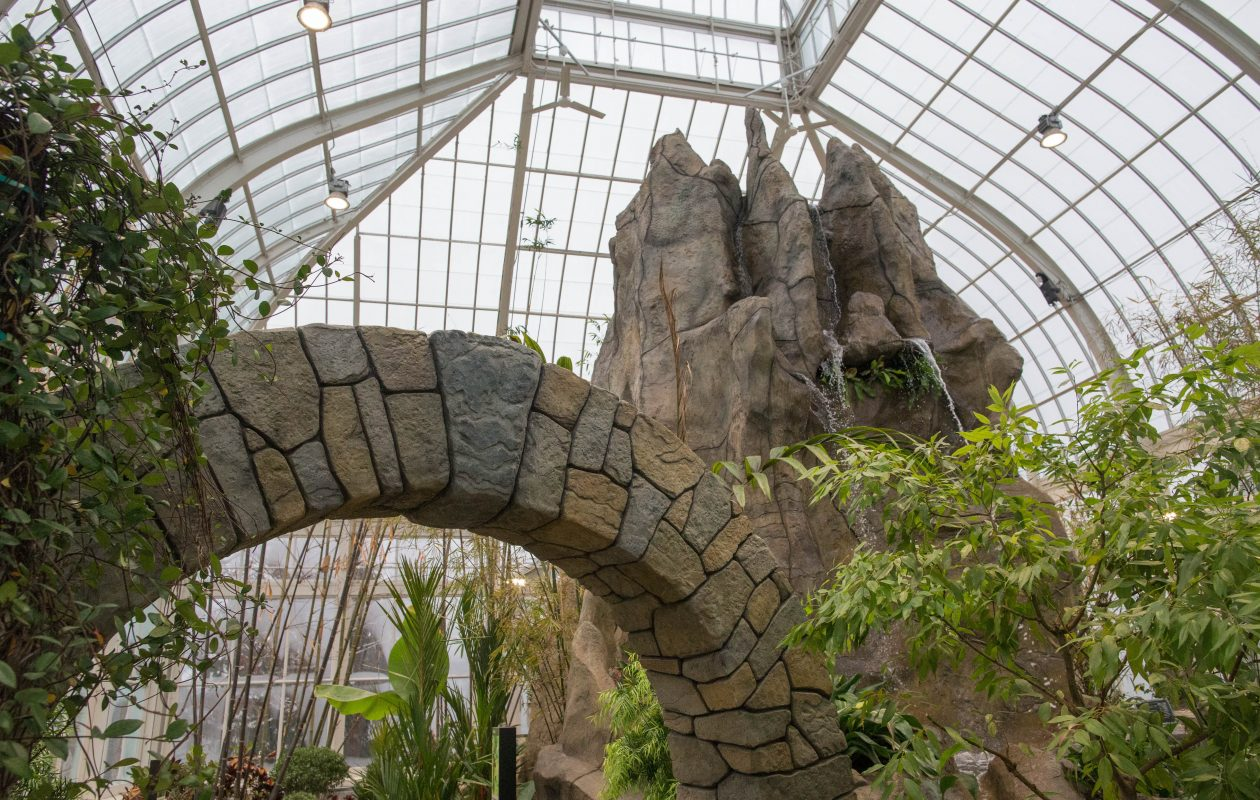 Garden clubs often meet at or tour the Buffalo and Erie County Botanical Gardens. Shown here: The moon gate and waterfall features in the new Asian Rainforest. (Derek Gee/Buffalo News file photo)