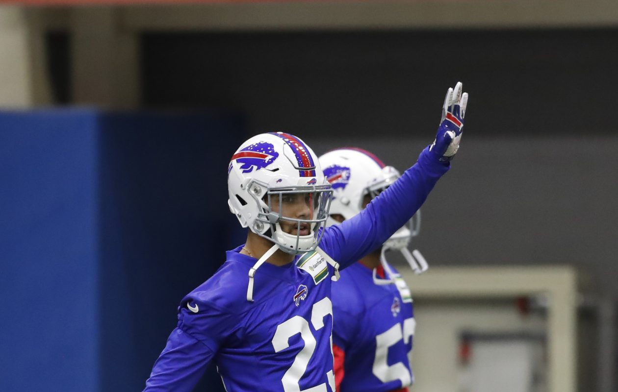 Bills safety Micah Hyde stretches at the AdPro practice facility. (Harry Scull Jr./Buffalo News)