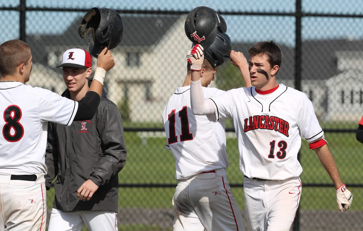 Lancaster junior Max Giordano (13) was one of six Legends named to the All-ECIC I baseball team. (James P. McCoy/Buffalo News)
