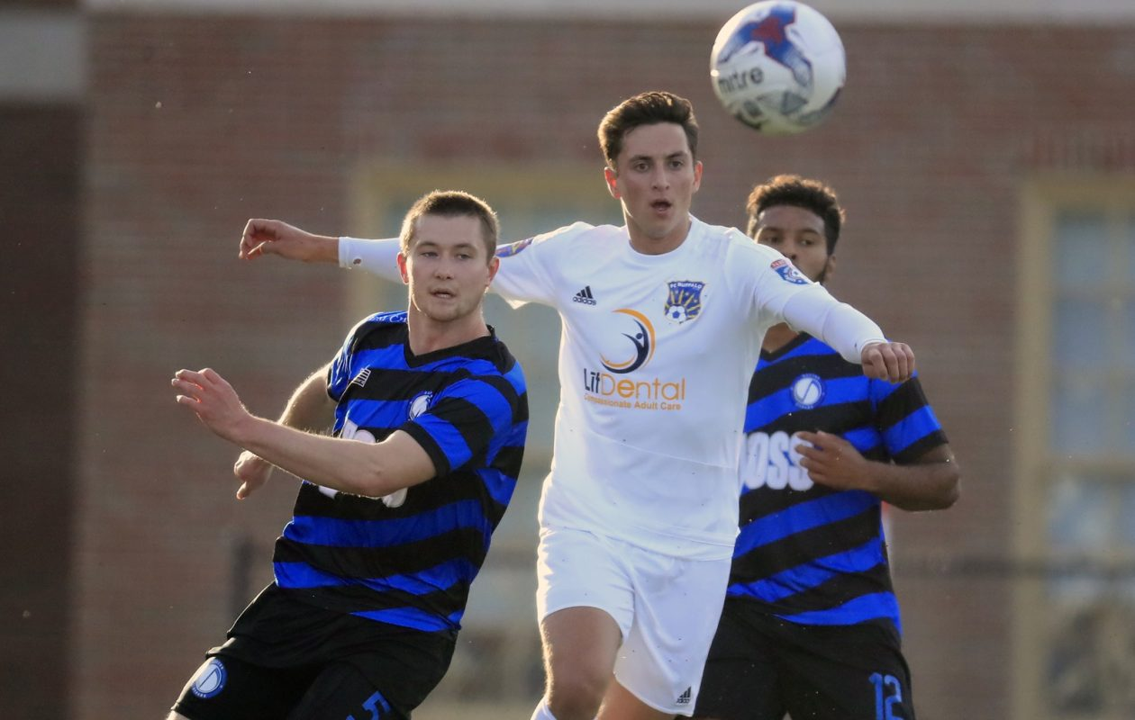 FC Buffalo, in white, and Dayton have different outlooks for the remainder of the season. (Harry Scull Jr./Buffalo News)