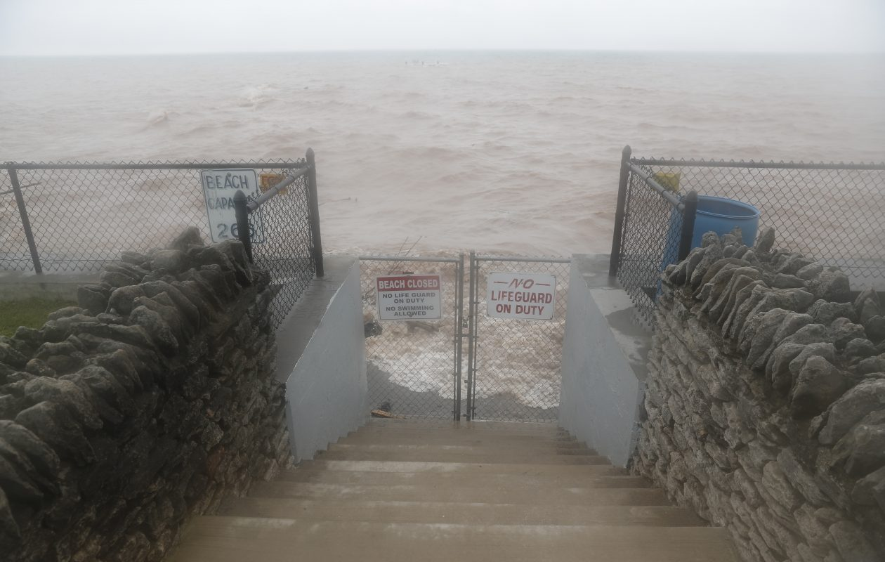 Waves break at a gated entrance to the lake at Krull Park in Olcott. (John Hickey/News file photo)