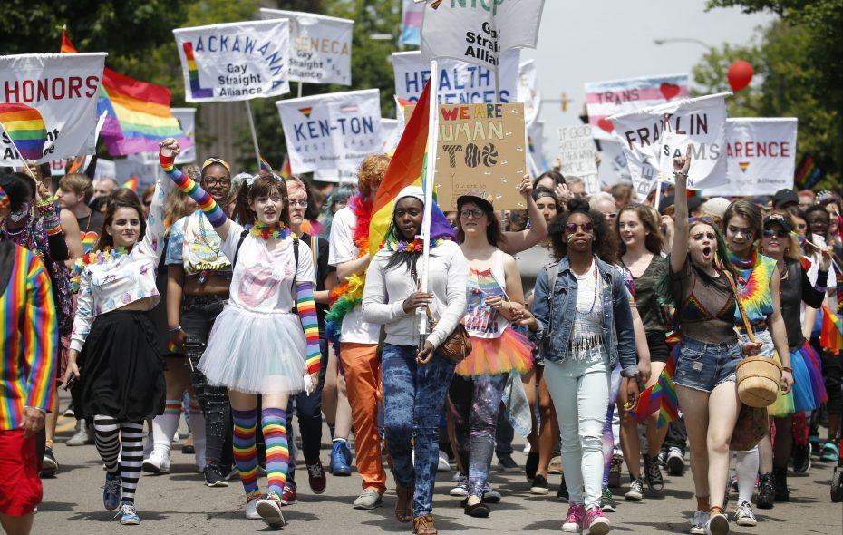 Dozens of high schoolers representing Gay-Straight Alliances opened the 2017 Pride Parade. (Robert Kirkham/Buffalo News)
