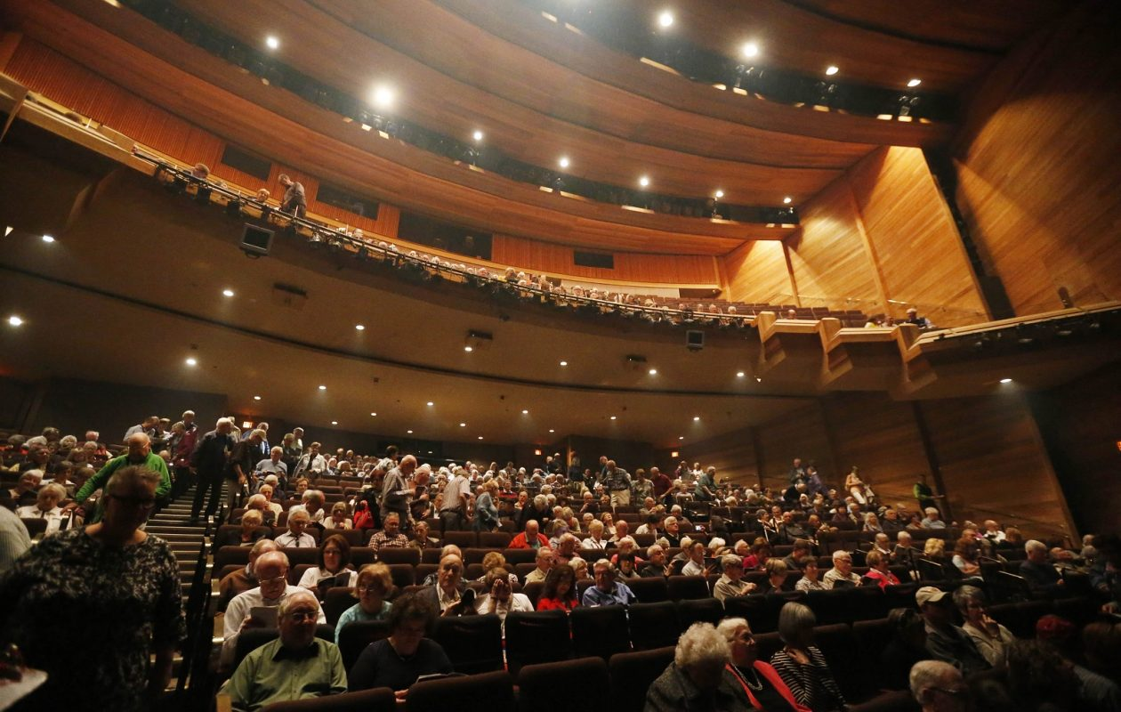 Inside Festival Theatre, where patrons are gathering to see Shaw Festival's presentation of 'St. Joan.' (Sharon Cantillon/Buffalo News)