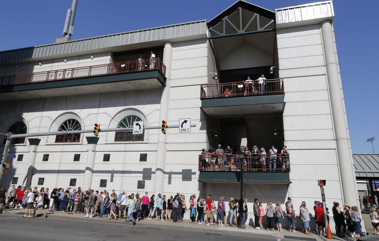 The lines outside Coca-Cola Field led to well over an hour wait for some fans looking to get into the Taste of Country. (Robert Kirkham/Buffalo News)