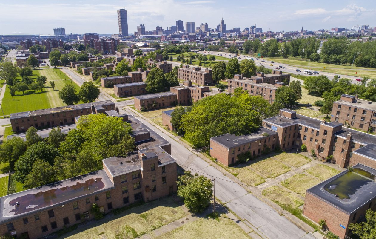 An aerial photo of the Commodore Perry housing complex in Buffalo. Rep. Brian Higgins will hold a news conference at 10:30 a.m.  Monday announcing his plan for the deteriorating housing complex. (Derek Gee/Buffalo News)