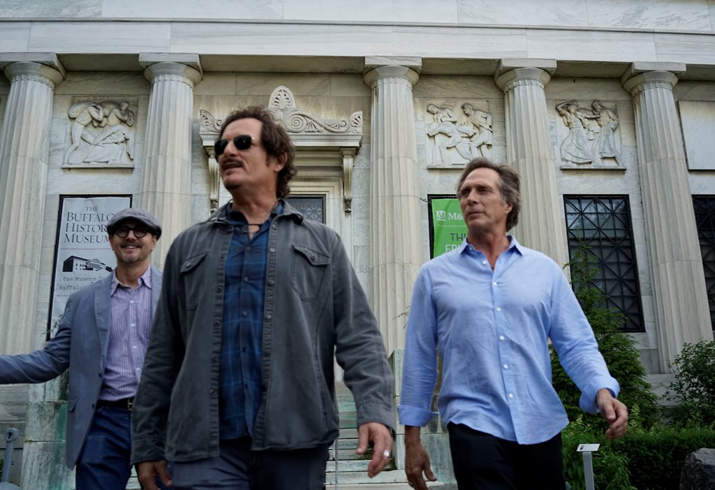 From left, Executive Producer and co-writer Cain DeVore, actor Kim Coates and writer/director/actor William Fichtner leave The Buffalo History Museum following their press conference Tuesday to announce filming will begin for their movie 'Cold Brook' in Buffalo Wednesday.  (Derek Gee/Buffalo News)