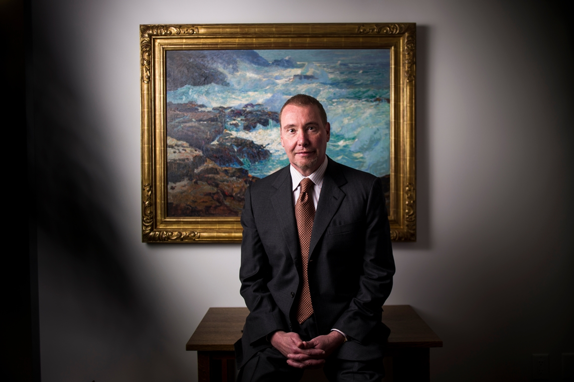 """I could either buy another picture, or I could massively transform the Buffalo art museum,"" Jeffrey Gundlach said of his $42.5 million gift to the Albright-Knox. Behind him is  a painting by William Ritshel, (Jenna Schoenefeld/Special to The News)"