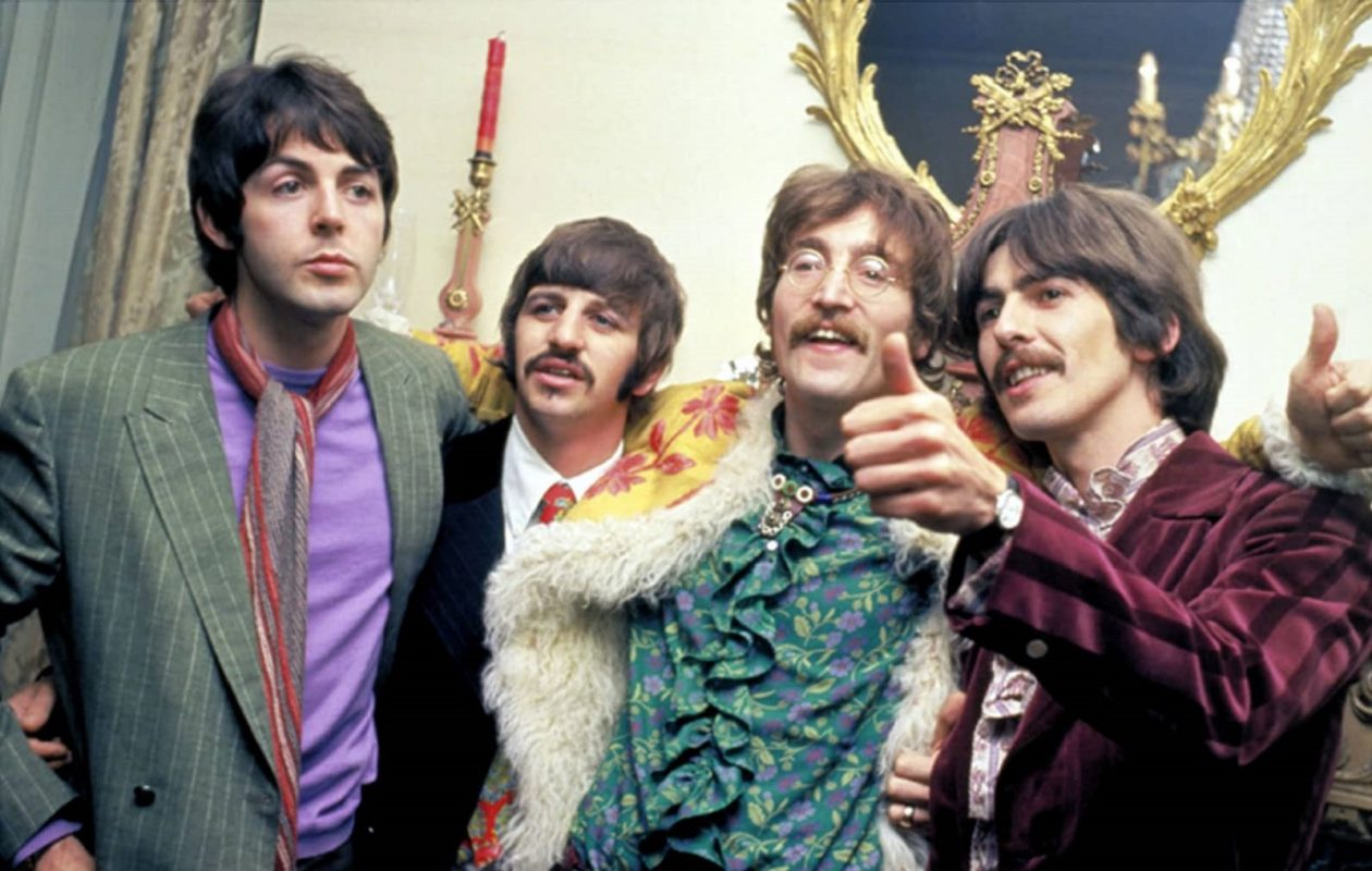 The Beatles at the launch party for 'Sgt. Pepper's Lonely Hearts Club Band' in 1967. (Getty Images)