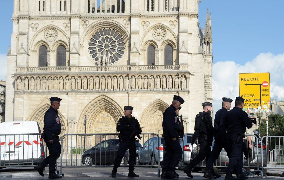 The Notre-Dame neighborhood is surrounded by police after a man struck a police officer with a hammer on June 6, 2017, in Paris. (Getty Images)
