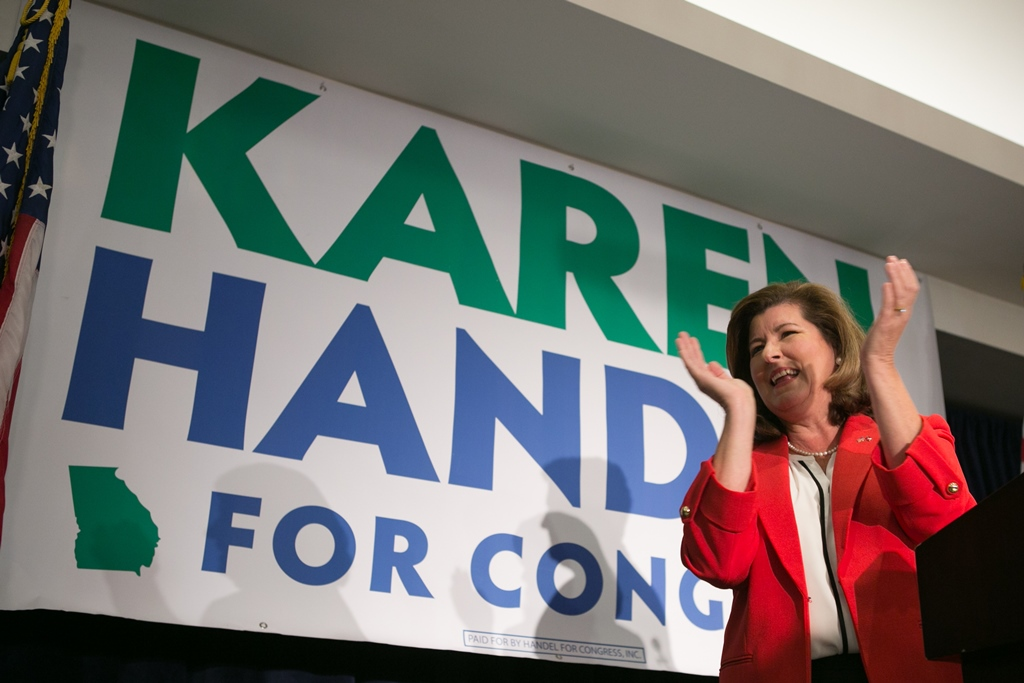 Republican candidate Karen Handel gives a victory speech to supporters in Atlanta Tuesday night celebrating her victory over Democrat Jon Ossoff in the special election to fill the seat left vacant by Health and Human Services Secretary Tom Price. (Getty Images)