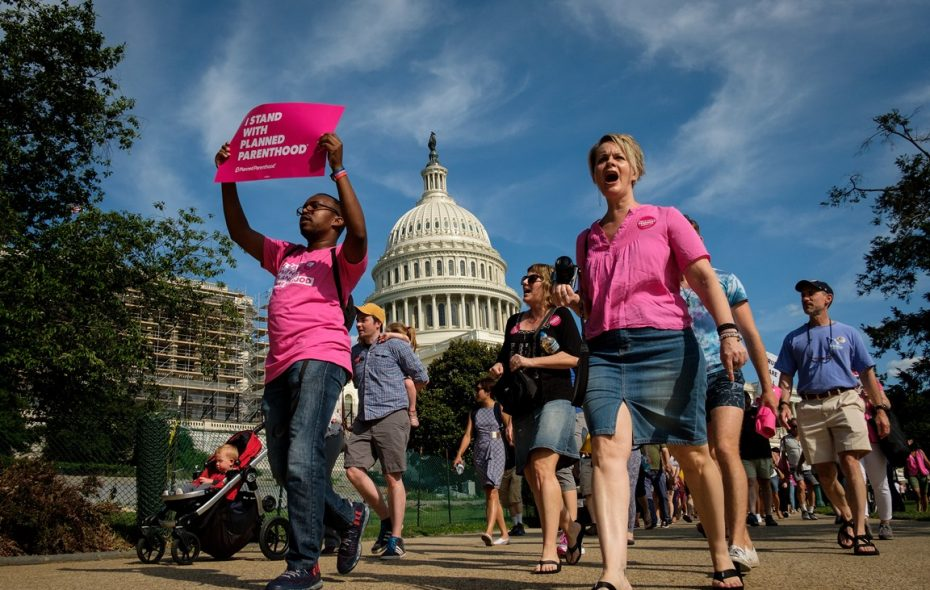 Activists march around the U.S. Capitol to protest the Senate GOP health care bill, on Capitol Hill, June 28, 2017 in Washington, DC. The protest was organized by a wide array of progressive organizations and they are calling for a 'People's Filibuster' around the U.S. Capitol in protest of the GOP health care plan. (Photo by Drew Angerer/Getty Images)