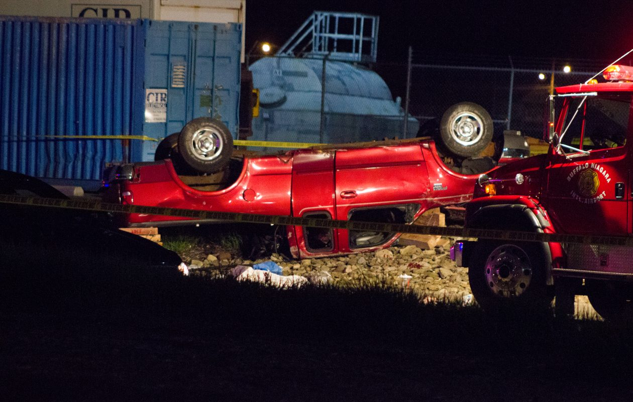 One person was killed and four others hurt in a rollover crash at Buffalo-Niagara International Airport on June 8, 2017. (Jim Herr/Special to The News)