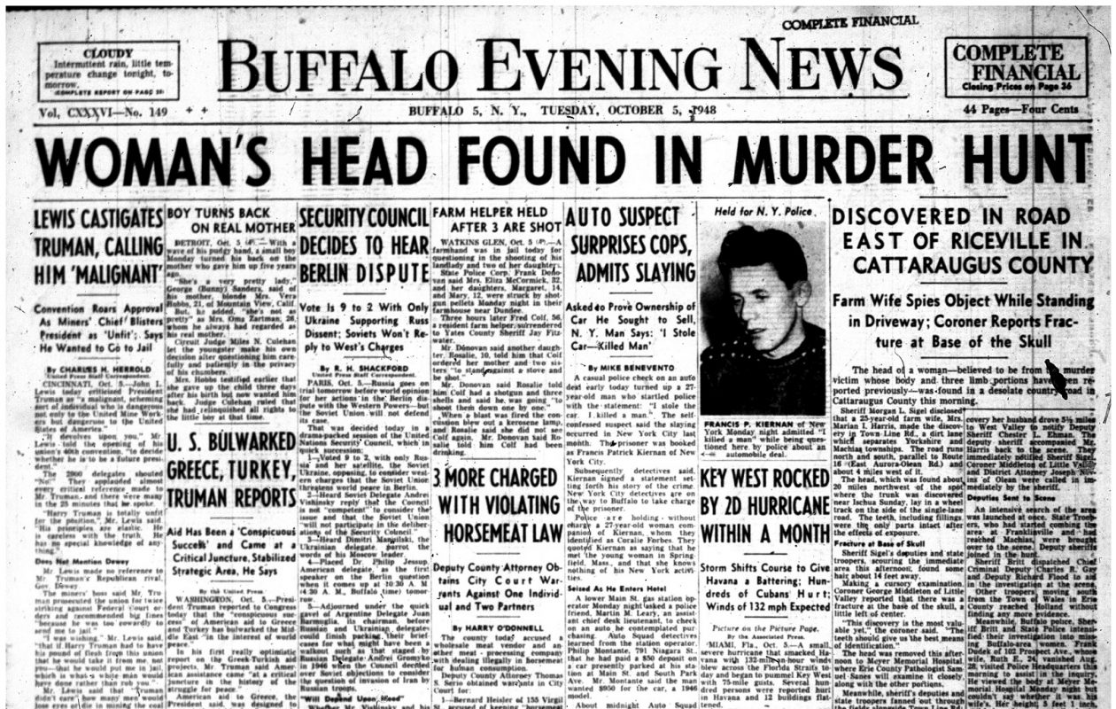 The murder of Helen Lindeman made the front page of the Oct. 5, 1948, cover of the Buffalo Evening News.
