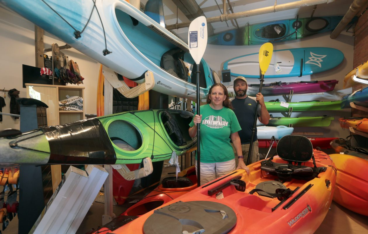 """I like to trick myself into working out. … And kayaking is awesome. Who doesn't like being on water? It's accessible. It's affordable."" – Jason Mendola, who with Beth Bragg owns Elevator Alley Kayak Tours at The Barrel Factory, 65 Vandalia St., in the Old First Ward. (John Hickey/Buffalo News)"