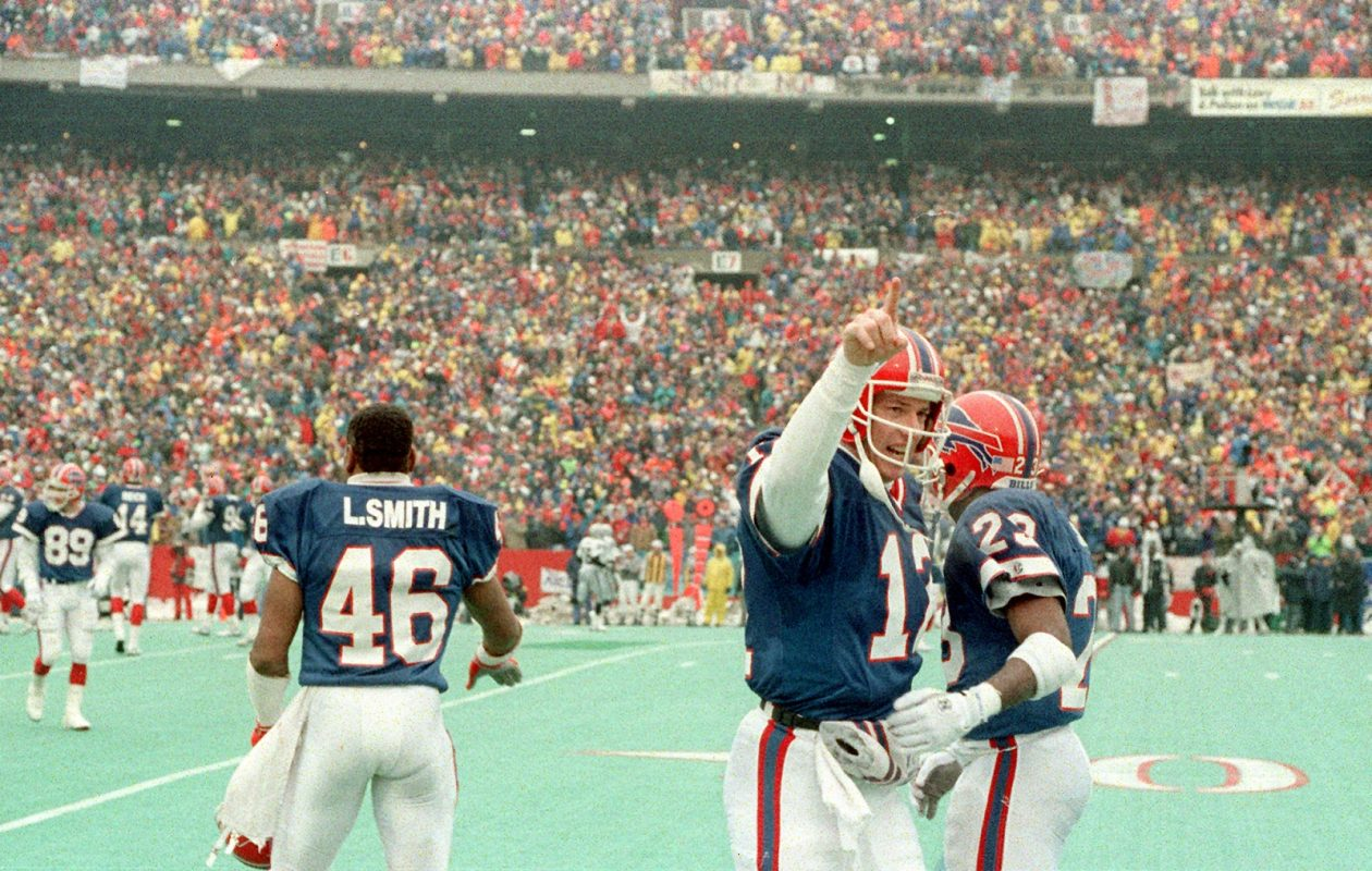 Jim Kelly celebrates during the AFC Title game on Jan. 20, 1991, when the Bills beat the Los Angeles Raiders 51-3 to move on to Super Bowl XXV. (News file photo)
