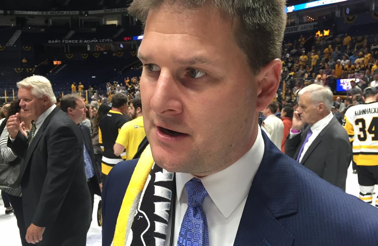 Sabres GM Jason Botterill chats with reporters on the ice in Nashville after the Penguins' Stanley Cup clincher (Mike Harrington/Buffalo News).