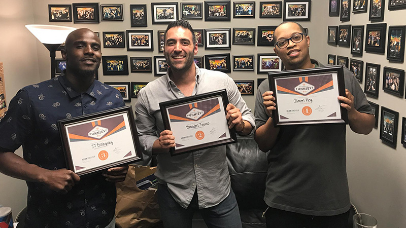 Jameel Key, right, won the annual 'Buffalo's Funniest Person' contest at Helium Comedy Club. JJ Billingsley, left, and Brandon Trusso were named runners-up. (Courtesy of Helium Comedy Club)