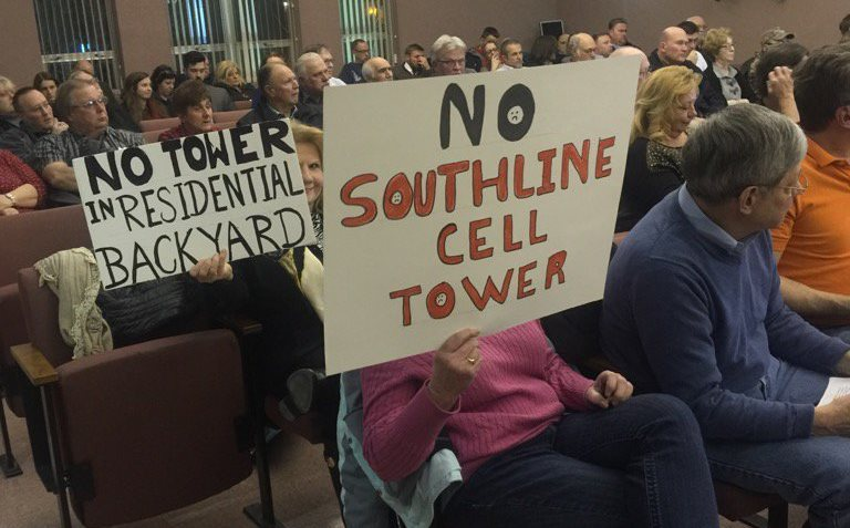 Cheektowaga residents at a Town Board meeting in February oppose cellphone tower on South Line Little League property. (Jane Kwiatkowski Radlich/Buffalo News)